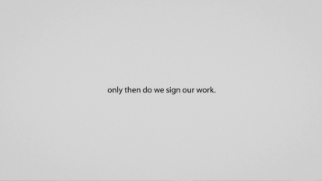 Only then do we sign our work